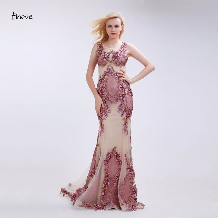 Finove Dusty Pink Evening Dresses 2017 New See-Through Sleeveless Elegant  Appliques Mermaid Floor Length Party Gowns