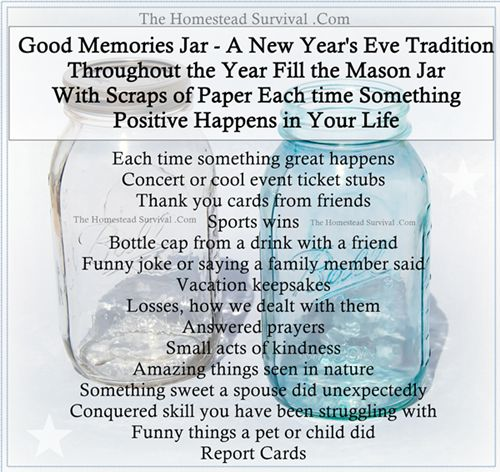 Good Memories Jar – Fill and Open on New Year's Eve - The Homestead Survival -