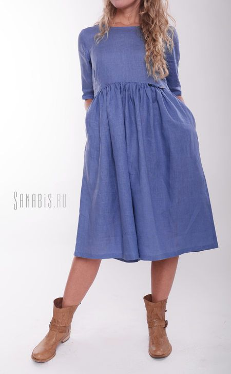 Льняное платье цвета Индиго ~ Sanabis.ru