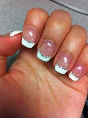 I used to get these.... But mine had a double French tip with the silver glitter ....