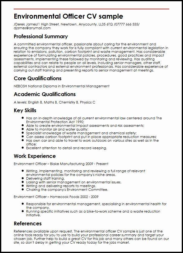 Environmental Services Job Description Resume Luxury Environmental Ficer Cv Sample Myperfectcv Sample Resume Resume Objective Resume Guide