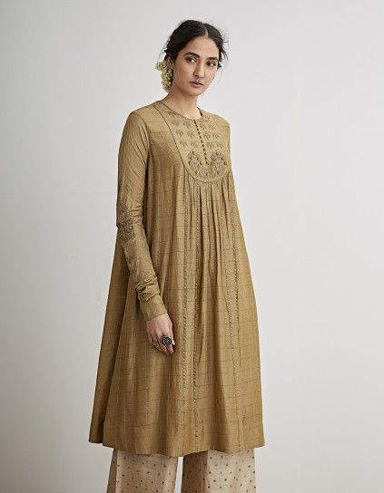 5525f0df19 Buy Pale Olive Embroidered Kurta Set by Dhruv Singh Available at Ogaan  Online Shop | Summer collection in 2019 | Fashion dresses, Indian dresses,  ...