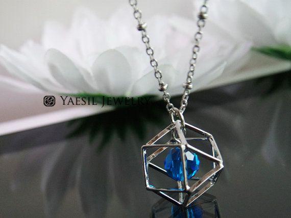 3-D Polygon Necklace Capri Blue Crystal Necklace by YaesilJewelry