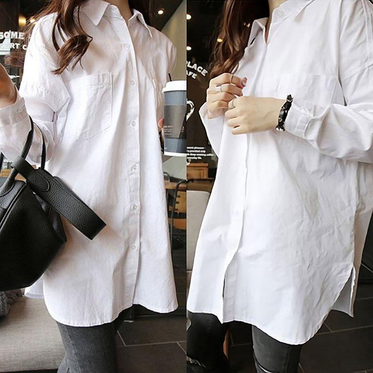 Amazon | ( マゴット ) Maggot ロングシャツ レディース 無地 長袖 バックファスナー ジップ 白 (02 M サイズ) | シャツ・ブラウス 通販