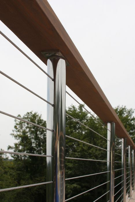 stainless steel cable railing   Deck Railing Photo Gallery - Stainless Steel Cable Railing with Wood.  For 2nd floor?