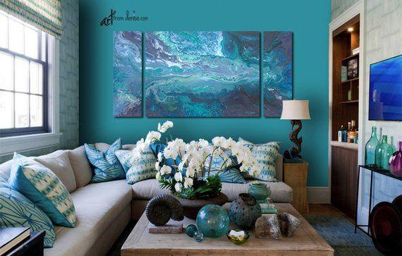 3 Piece Wall Art Canvas Abstract Print Set Blue Teal Gray Etsy Wall Decor Living Room 3 Piece Wall Art Canvas Wall Art