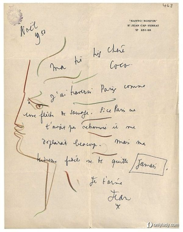 Dessin de Jean Cocteau à Coco Chanel (1950). A drawing of Coco Chanel by the artist Jean Cocteau. The drawing is on top of a short note scribbled by the artist.