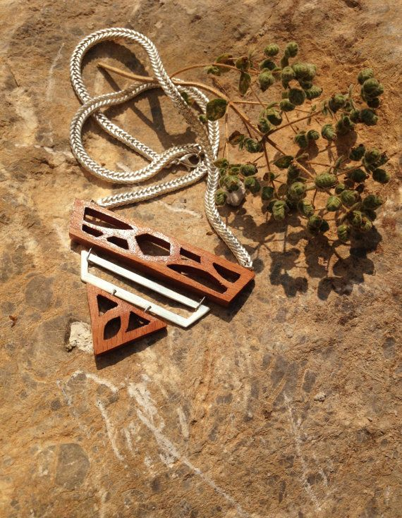 Wooden handmade necklace by AlphaPiDesigns on Etsy