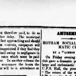 Review of 'The return of the wanderer' and 'A photographic Fix'. J. B. Stanway performs in both plays. North Melbourne Advertiser, 6 Jun 1884, p. 3, 'Amusements'.