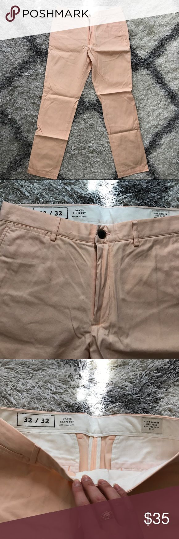 Men's Club Monaco slim fit chinos men's chinos. Slim fit. 32x32 True to size. Worn once. Great Condition. Peach color Club Monaco Pants Chinos & Khakis