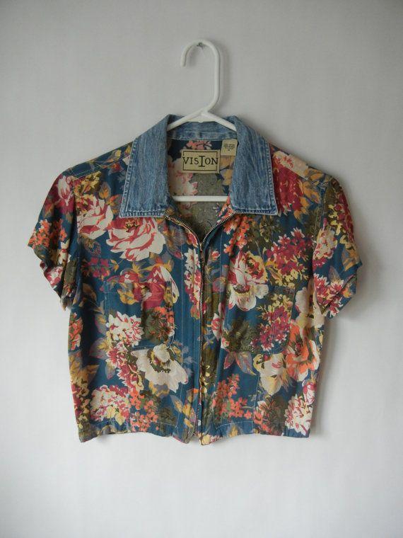 Spring Sale, Vintage Crop Top, Size Medium, Floral, Grunge, 90's, Hipster, Tumblr, Denim Collar