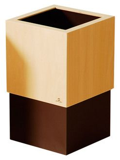 Recycle Bin trash tastefully wooden suit box style and Scandinavian taste popular simple modern dust box corner-Yamato Univ. art cube dast box Brown