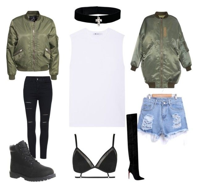 """Bryson Tiller/ Travis Scott concert possibilities"" by fierrij on Polyvore featuring T By Alexander Wang, R13, D. Brand, Urban Renewal, Timberland and Topshop"