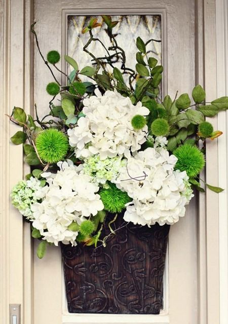 765 best door basket images on pinterest flower Spring flower arrangements for front door
