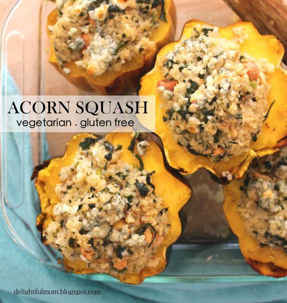 Quinoa Stuffed Acorn Squash #vegetarian #onedishmeals #glutenfree