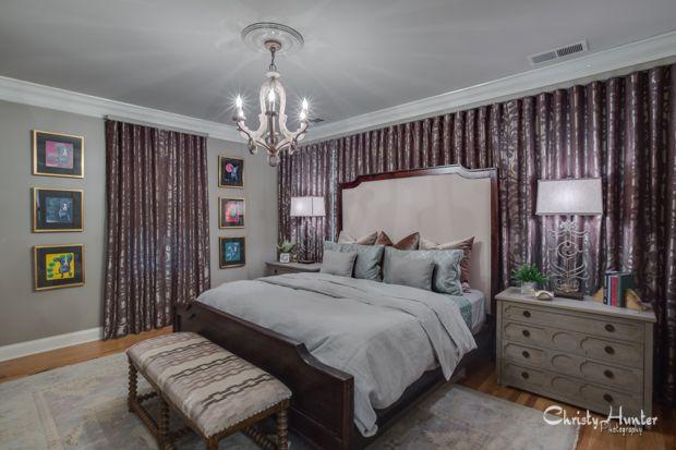 Master bedroom design by Gary Taylor.  Memphis, TN.  Blue Dog prints.