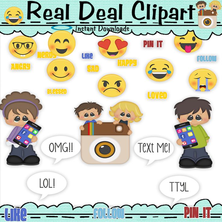 Social Media Clip Art - So Cute  If you use social media of any kind this is a must have clipart. #PinIt #follow #like #boy #girl #Instagram #Texting, #Text Me #SocialMedia #OMG #LOL #TextMe #FollowMe #Pin #Like Me #sad #angry #nerds #happy #mad #loved #CellPhone #emoji #EmojiClipart #SocialMediaClipart #realdealclipart #clipart
