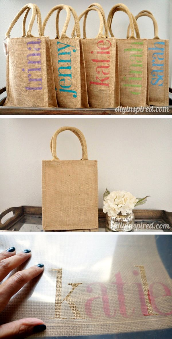Love these burlap bags for the favor goodie bags! Maybe we could find something similar at Michaels or Hobby Lobby?