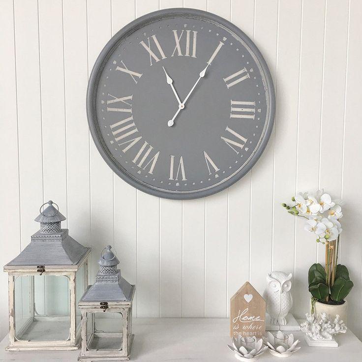 Huge 80cm Grey Wall Clock/Hampton's Style/Vintage Farmhouse French Provincial  | eBay