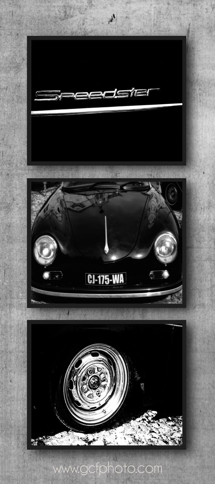 Black & white Porsche Speedster photo print set of 3 from $36. Click to see details and options. #Porsche1600 #PorscheSpeedster #356 #decorhome #homedecor #walldecor #decorideas