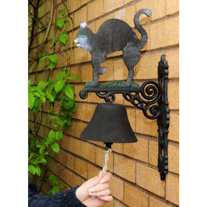 Ручная роспись сад Белл - Black Cat - Cat Дверные молотки