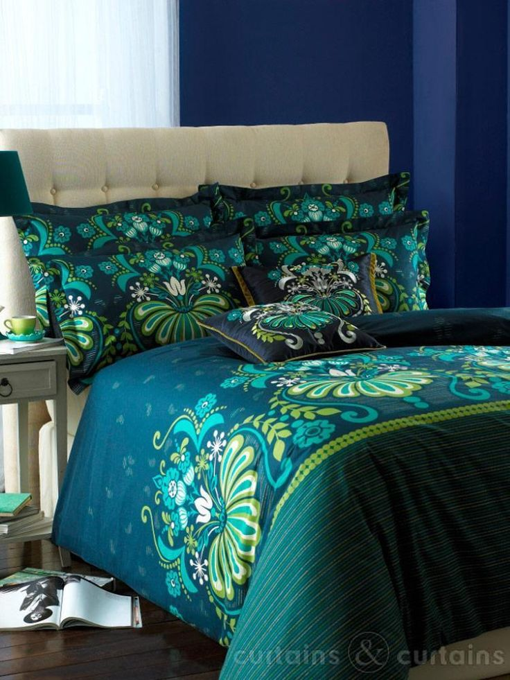 peacock+bedding+lime+green+and+teal | ... Bedding > Duvet Covers > Glamour Teal Luxury Reversible Printed Duvet
