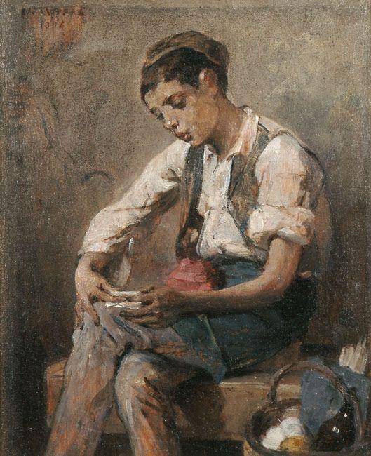 Nikiforos Lytras -   Boy rolling a cigarette, 1884