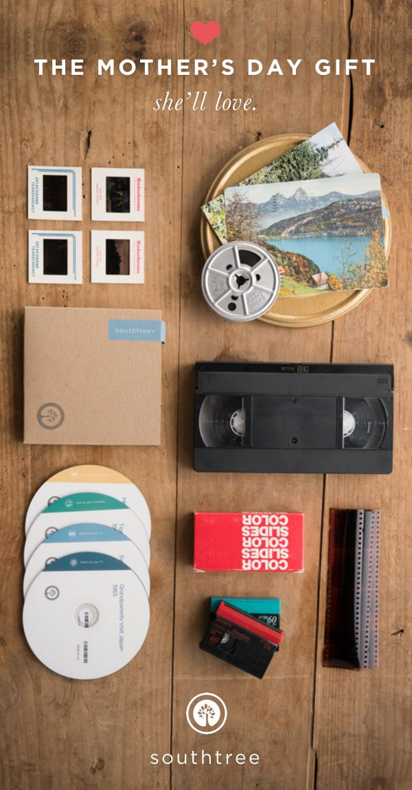 Give mom an unforgettable gift, the gift of memories. She'll love sending in her aging tapes, film, pictures and audio recordings to be converted to digital. The best moments in life are worth living, and re-living. Gift Southtree services today.