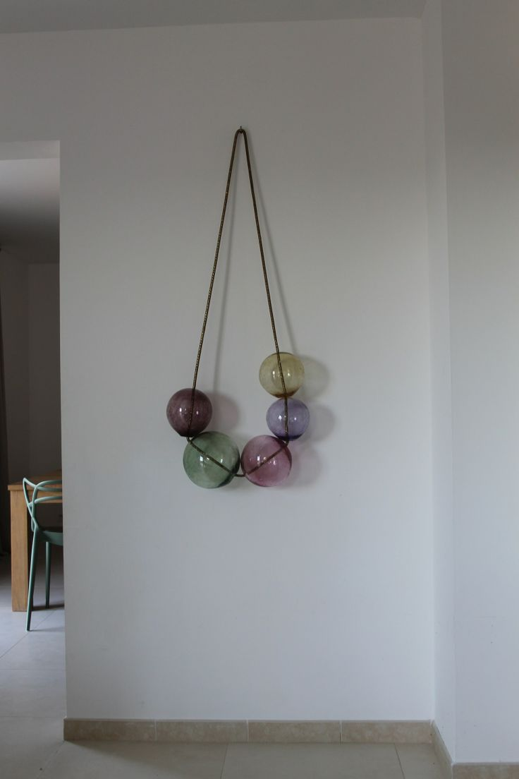 Interior Jewellery - Wall Sculpture Bubbles - Mouth Blown Glass on brass chain - LaLouL.be