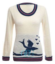 Maglione Donna Manica Lunga Con Uccello Contrasto Cuore Stampa Maglia Nuovo