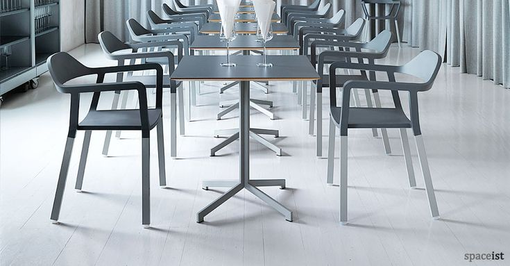 Madi grey contemporary square cafe tables.