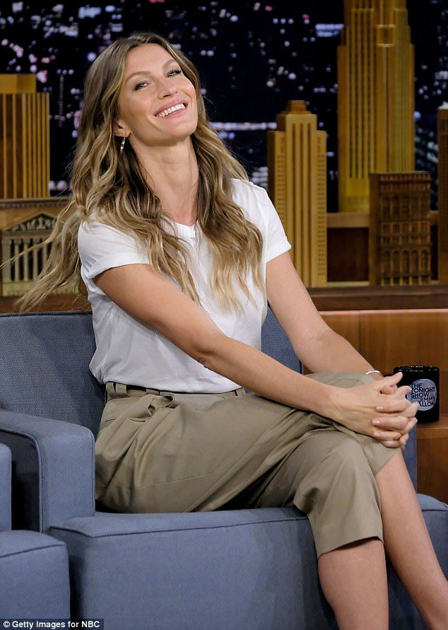 Elegant: Gisele Bundchen showed off her ability to ooze understated glamour as she appeared on The Tonight Show Starring Jimmy Fallon at New York's Rockefeller Center on Friday