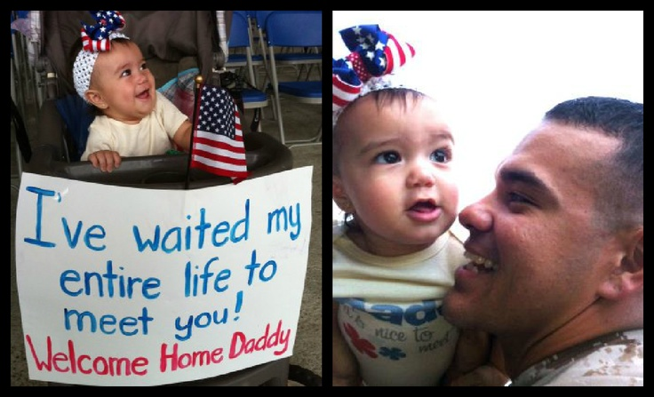 """Ayanna (five months old) gets to meet her marine father, who she has waited her """"entire"""" life to meet, for the first time.  No words can describe how adorable this is!"""