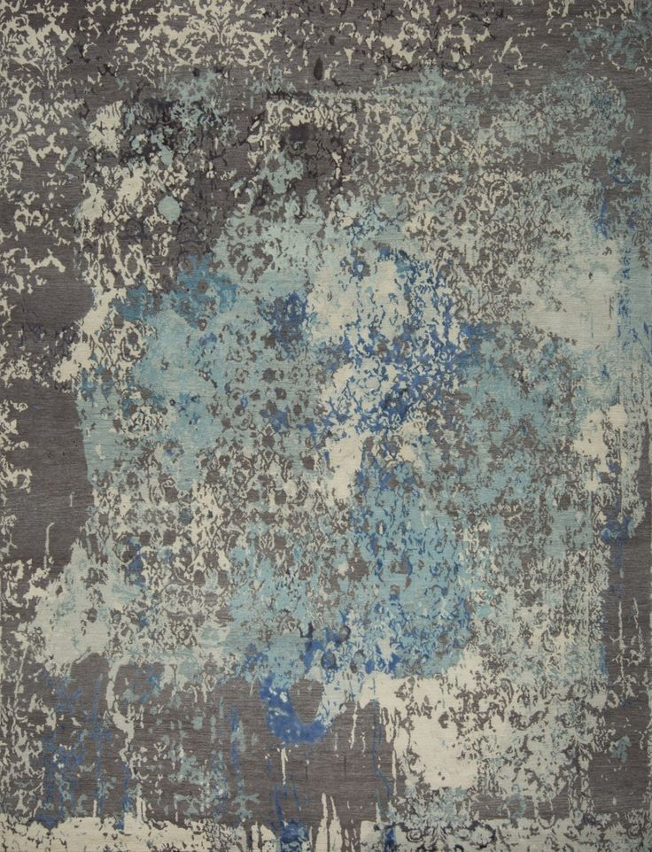 Damask In Distress - Kerrie Brown Collection- Hand Knotted in Tibetan Wool