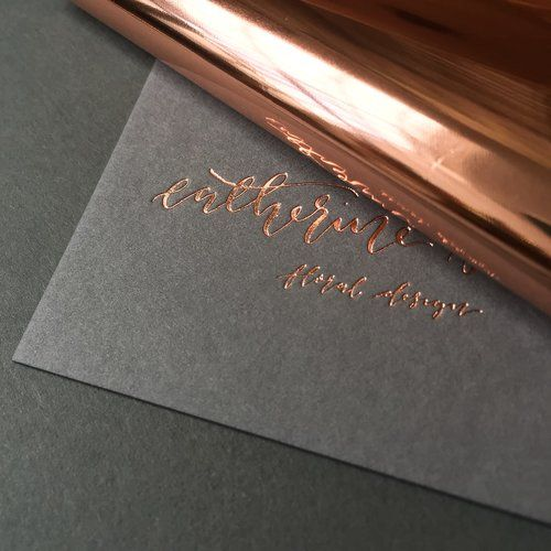 FOIL STAMPING : Here is an example of foil stamping where they use heated dye and a foil sheet to transfer the ink to the page where desired to make images and typography and designs in a graphic manner. These are stamped onto pages. This is also used with a letter press as shown in this picture and uncoated black stock for the card to create contrast.