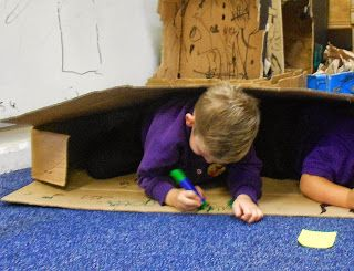 Foundation Stage Two blog photo of the week. Getting inside the cardboard box.