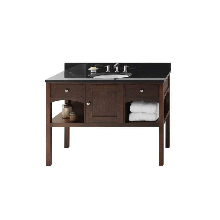 Ronbow Langley 48 Inch Bathroom Vanity Set In Cafe Walnut Granite Countertop And Backsplash