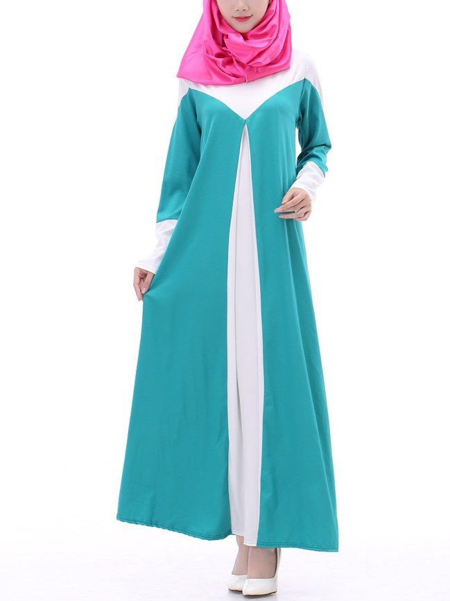 New Arrival Color Splicing A-line Muslim Dress_Muslim Dress_Wholesale clothing, Wholesale Clothes Online From China