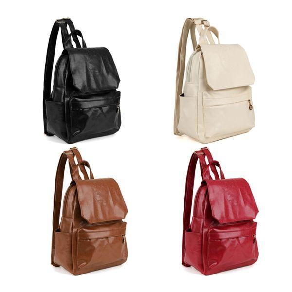Women Backpack PU Leather Crown Embossing Casual Shoulder Bag