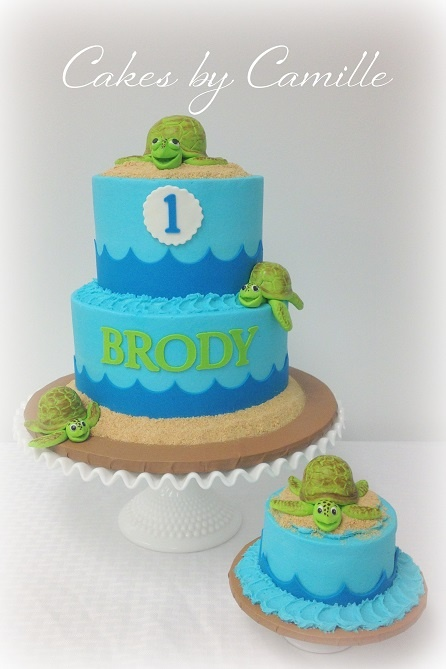 Sea turle cake!! Love the awesome boy colors! Hand-sculpted fondant sea turtles.
