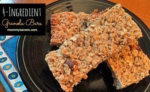 Kid-Friendly Recipe:  Easy Four-Ingredient Homemade Granola Bars
