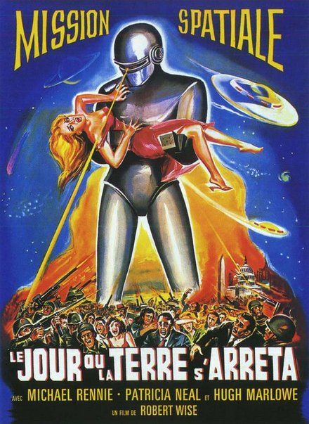 THE DAY THE EARTH STOOD STILL - Michael Rennie - Patricia Neal - Hugh Marlowe - French movie poster.