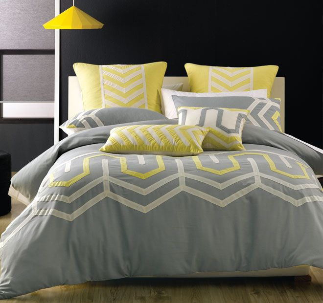 Deco City Living Ralston Quilt Cover Set Range Grey and Yellow