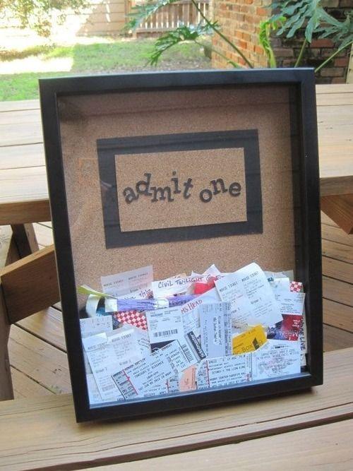 completelycumberbatched:  kit-katie:  Ticket stub memory box  I love this idea! :D