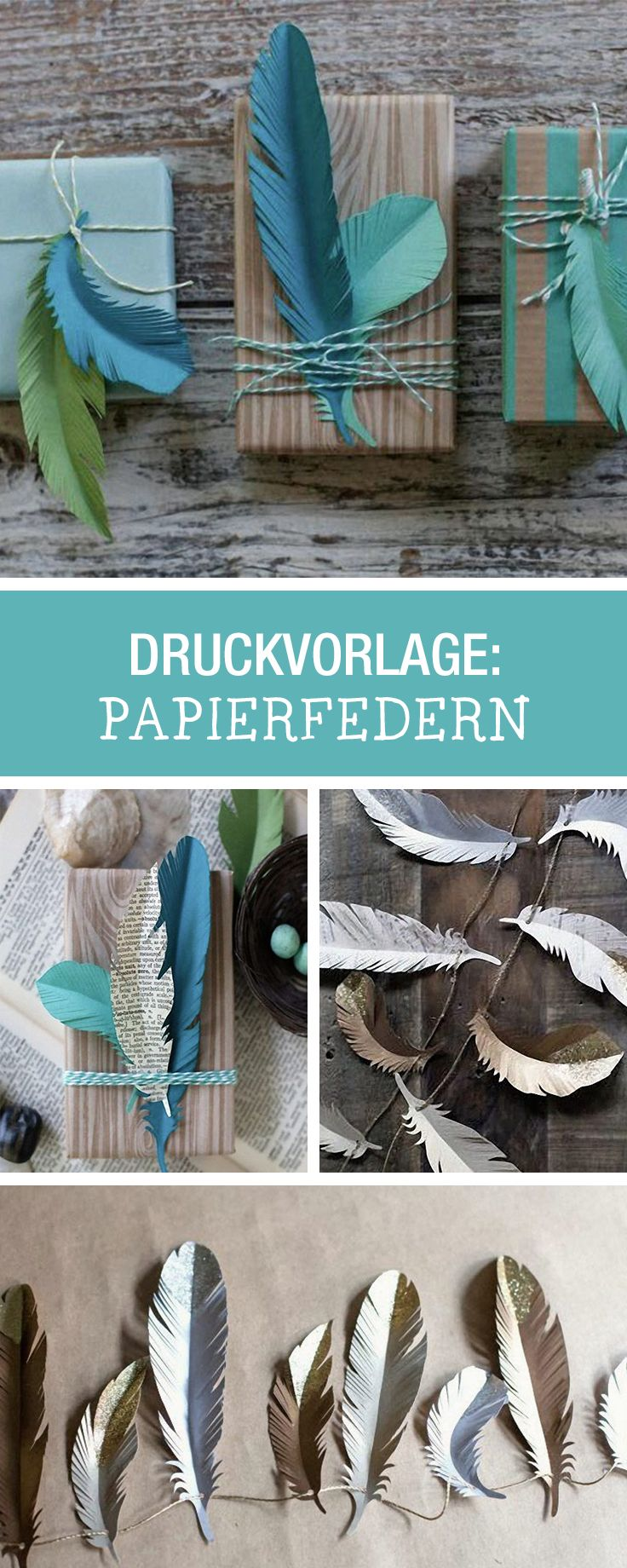 Druckvorlage für Federn, perfekt als Verzierung für Geschenke / printable for paper feathers, gift wrapping ideas via DaWanda.com