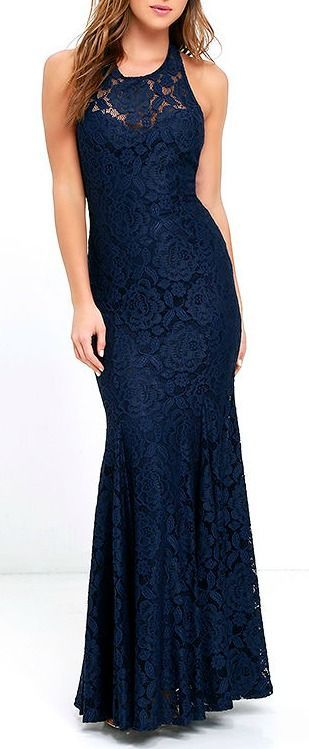 The epitome of style and class, the Live Forever Navy Blue Lace Maxi Dress is sure to stun! Floral lace glides effortlessly down a halter neckline into a full maxi skirt with godets.  #lovelulus