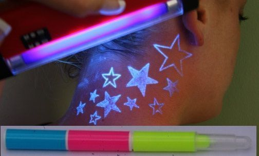 INVISIBLE INK Pens UV Black Light Body Temporary Tattoo