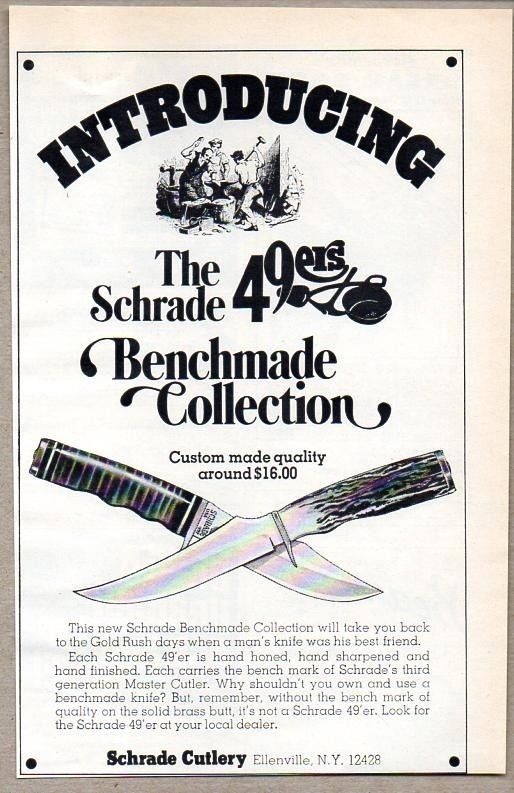 1975 Print Ad Schrade 49ers Benchmade Collection Knives Knife Ellenville,NY #MagazineAd
