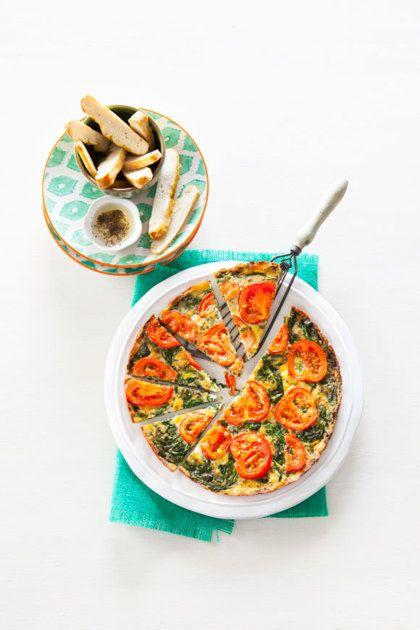 Recept voor: frittata met tomaat, mozzarella en spinazie
