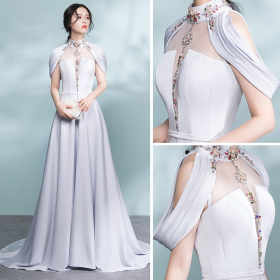 Fashion Gray Pierced Evening Dresses 2017 A Line Stand Collar Bandeau Beading Crystal Fabric Belt Sweep / Brush Train Backless Festive Gowns